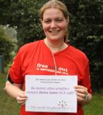 Tanja Falge mit Motivationsbotschaft nach Halbmarathon